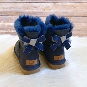 UGG Navy Mini Bailey Bow II Shimmer Boots